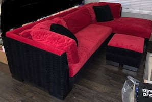 Sectional sofa with chaise lounge and ottoman. Make me an offer