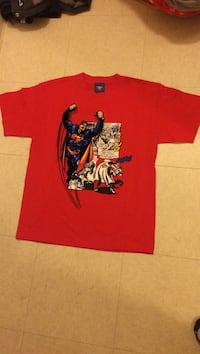 Red, white, and blue superman graphic print crew-neck t-shirt