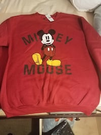 Mickey Mouse print red long sleeve sweater. Size medium. OBO
