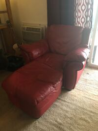 Red leather chair and ottoman , 07747