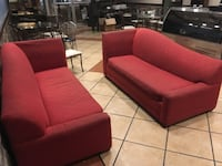 red fabric 3-seat sofa section (pull out beds)