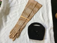 Long elbow length gold satin gloves size 7 labeled Kay Fuchs small beaded bag with some ware  Wethersfield