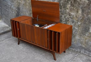 MId Century Zenith record console with upgraded components + echo dot