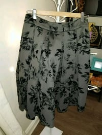 Grey and black floral skirt, size 8