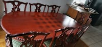 Solid wood dining table plus 8 chairs.  Kitchener, N2B 3V5
