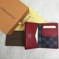 red Louis Vuitton bi fold wallet with box London