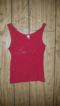 girl's red tank top