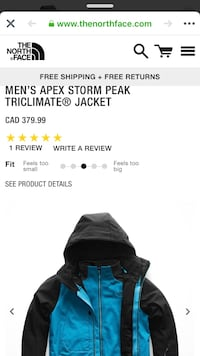 Storm jackets the nort face , black and blue 536 km