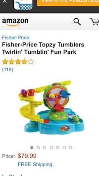green and blue Fisher-Price activity saucer