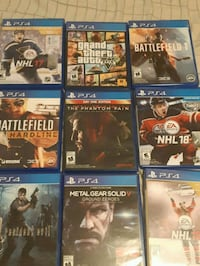 eight Sony PS4 game cases Oakville