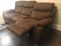 Brown suede 3-seat recliner sofa
