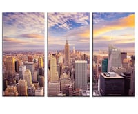 Brand New In Box 12x24 inches x 3 pics Canvas Wall Art New York