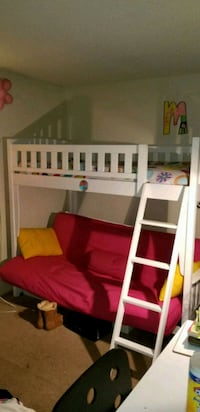 white wooden bunk bed frame San Mateo, 94403