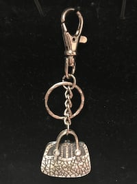 Adorable!!!! solid Silver Purse Keychain with tiny diamond crystals