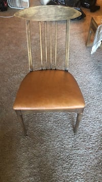 brown wooden framed brown leather padded chair Baltimore, 21212