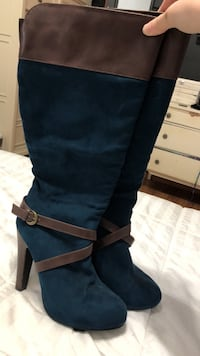 blue-and-brown suede chunky heeled knee-high boots Cold Spring, 10516