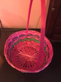 Pink and green woven basket