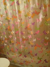 pink, purple, and white butterfly print curtain