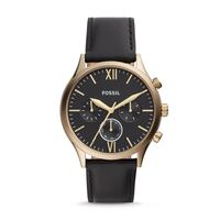 Round black chronograph watch with black leather strap Toronto, M4V 1P7