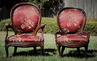 Satin His and Hers Victorian chairs, reupholstered in the 90's