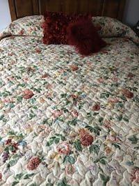 Quilted coverlet (full or queen bed), bed skirt, drapes fit a 6 ft window, floor to ceiling, drapery rods included Bel Air, 21014