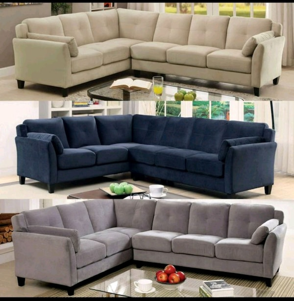Used gray suede sectional sofa with ottoman for sale in Garland - letgo