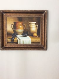 painting of jar and grapes with brown wooden frame Irvine, 92606