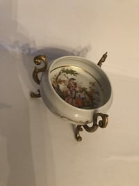 Antique French Limoges hand painted porcelain footed bowl Toronto, M2R 3N1