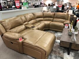 Leather sofa w/power recliner