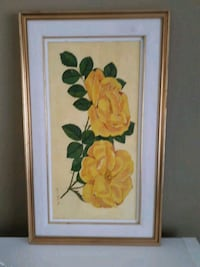 yellow rose flowers framed painting Vaughan, L6A 1Y4