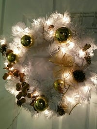White wreath with lights