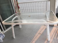 square white wooden frame glass top table