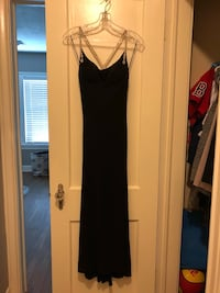 Women's Clothing - black gown, heels, and Bebe Dress Houston, 77009