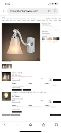 Restoration Hardware Bathroom sconce Toronto, M4T 1V3