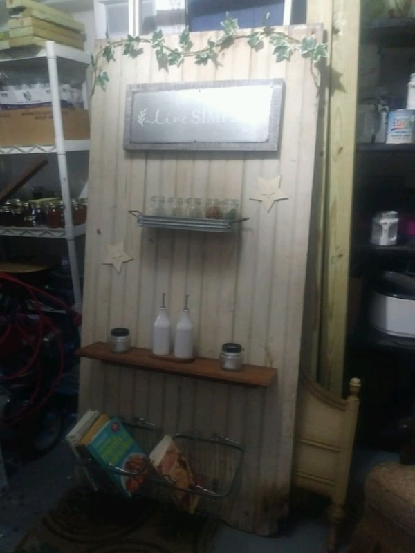 Barnwood large door with picture and rack and shelving and baskets  ff7e8e1c-c1f9-4776-b3bf-e3ace5b87d45