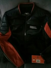 red and black zip leather jacket