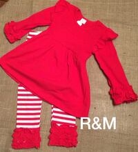 Little girl's red and white christmas outfit—new Kitts Hill, 45645