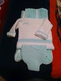 Hand made newborn to 3 months blanket and outfit Mission, 78572