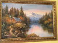 brown wooden framed painting of river Mississauga, L5C 3E2