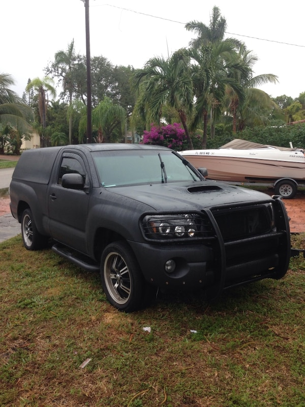 Toyota Tacoma Camper Shell For Sale >> Matte Black Toyota Tacoma Single Cab Pickup Truck With Camper Shell