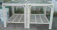 White Wicker End Tables w/ Glass Tops Camden, 27921