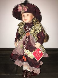 Porcelain Doll in burgundy and gold dress Calgary, T3B 0C4