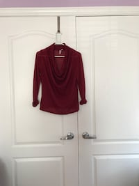 red cowl neck long sleeve blouse Vaughan