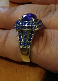 Sterling silver band just full of beautiful blue sapphires. Comes in size 7 or 8