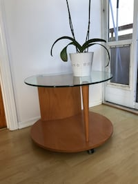 MOVING Real wood glass top side table from Italian furniture set OBO Los Angeles, 90024