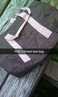 Large pink n black tote bag