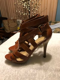 pair of brown leather open-toe heeled sandals Murrells Inlet, 29576