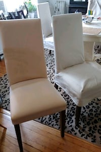6 Slip Covered Dining Chairs- great for a reupholstery project!