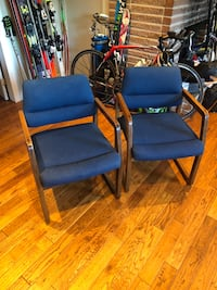 two blue-and-black armchairs North Vancouver, V7R 2M3