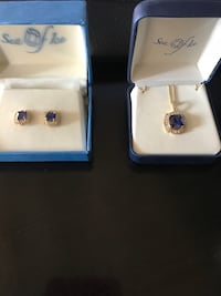 Yellow gold tone and blue stone necklace and earring set Pensacola, 32503